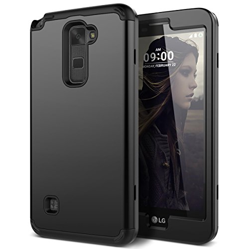 WeLoveCase LG Stylus 2 Case, Heavy Duty Drop Protection Case Shockproof Silicone Bumper + High Impact Hard PC 3 in 1 Hybrid Protective Case Cover for LG Stylus 2 / LG G Stylo 2 (LS775) - Black