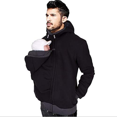 SHANGLY Kangaroo Sweat à Capuche Veste Porte bébé Vêtements Manche Longue Hommes Hiver Chaud Fermeture éclair Vestes Sweat-Shirt,XXL