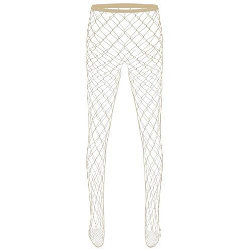 Agoky Herren Transparent Netzstrümpfe Hollow Out Fischnetz Strumpfhosen Overknees Männer Oberschenkel Hoch Elastisch Leggings Clubwear Nude A One Size