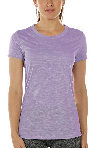 icyzone Workout Shirts for Women - Yoga Tops Gym Clothes Running Exercise Athletic T-Shirts (M, Lavender)
