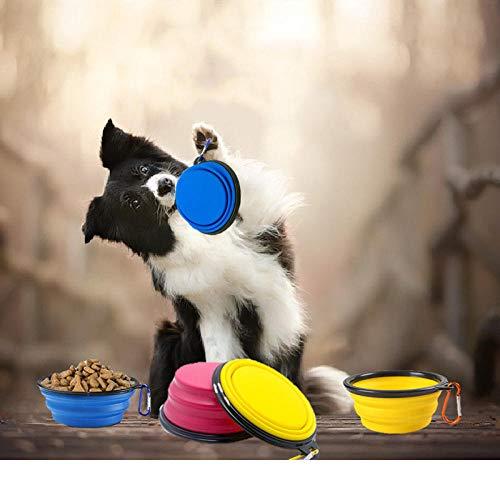 Promworld Rutschfester Silikon Reisenapf,Haustier Faltbare Silikonschale-gelb_Mit Karabinerhaken,Reisenapf Futternapf für Hund und Katze