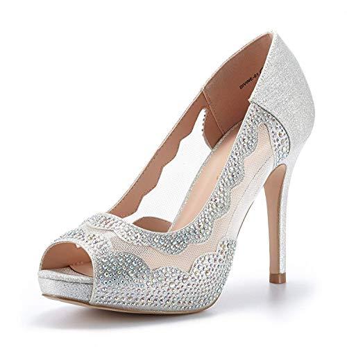 DREAM PAIRS Women's Divine-01 Silver High Heel Pump Shoes - 8.5 M US