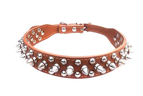 Collar de piel con tachuelas de 2,54 cm de ancho que protege mascotas atrevidas de otros que muerden para perros pequeños o medianos (tamaño mediano) (marrón)