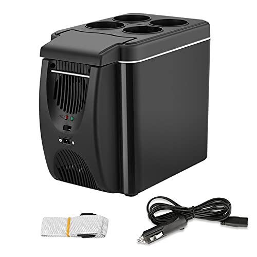 Refrigerador de coches, 12V Mini Fridicales Portátiles Personal Cooler Congelador Calentador 6L 9 latas, para la oficina de viaje de dormitorio Casa de campo