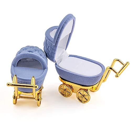Joyero 1 Pieza Precioso Carro De Bebé Caja De Joyería De Terciopelo Caja De Anillo De Boda Caja De Regalo Caja De Soporte Para Pendientes Collares Pulseras Exhibición