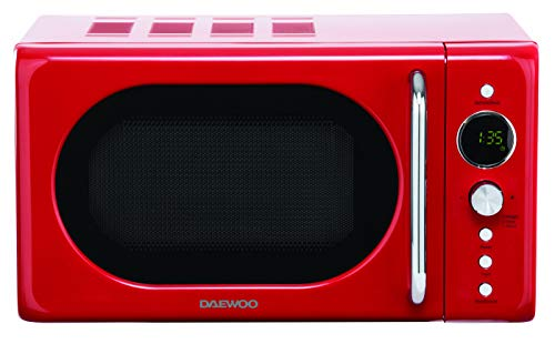 Daewoo 800W 20L Digital Microwave with 10 Power Levels and Defrost Function KOR9LBKC 60 Minute Timer with Cooking End Signal, Child Safety Lock and Sleek Retro Design- Red