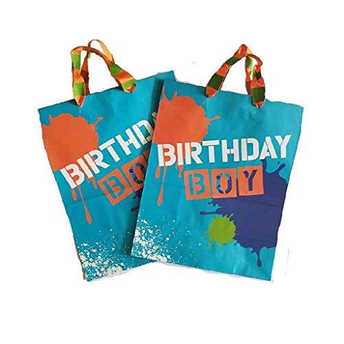 (2) Birthday BOY Gift Bags & Tissue Paper - Blue and Orange Paint Splatter Design by Hallmark Gift WRAP