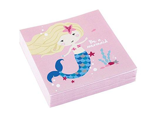 amscan 9903076 Servietten Be a Mermaid, Mehrfarbig, 25 x 25 cm