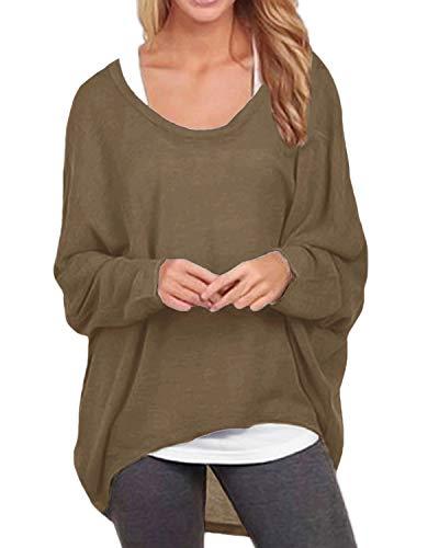 ZANZEA Damen Lose Asymmetrisch Jumper Sweatshirt Pullover Bluse Oberteile Oversize Tops Braun EU 46/Etikettgröße XL