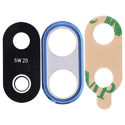 Cristal trasero de repuesto para lente + marco (azul) para cámara trasera + adhesivo de doble cara, compatible con Huawei P20 Lite ANE-LX1 LX2 LX3 L21 / NOVE 3E