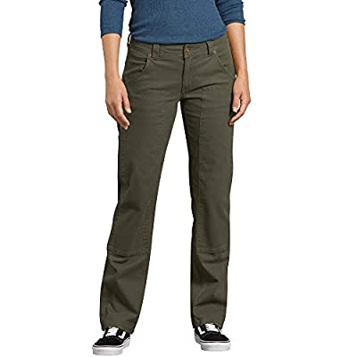 Dickies Women's Stretch Duck Double Front Carpenter Pant, Rinsed Moss Green, 2