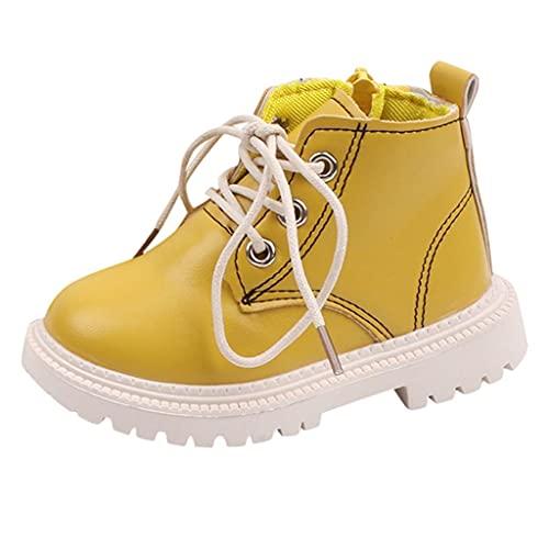 Scarpe da bambina in pelle, 25 pezzi, con chiusura lampo, per bambini, invernali, calde, antiscivolo, invernali, giallo., 29