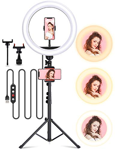 DETVFO [最新版 12in] LEDリングライト 12インチリングライト 卓上ライト USBライト 撮影照明用ライト 自撮りスタンド 化粧ライト 10段階調光 3モード 三脚スタンド付き 高安定性 高輝度168LED 180°角度調整 USB給電 化粧/テレワーク/Youtube生放送/自撮り/Web会議/カメラ撮影 美顔ライト 日本語説明書付