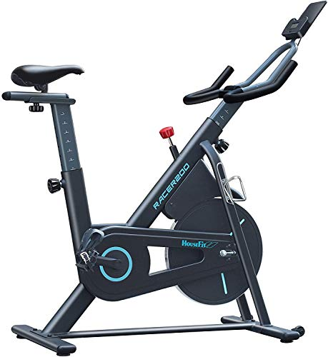 HouseFit Indoor Cycling Stationary Exercise Bike - Cycle Bike with Magnetic Resistance, Quiet Belt Drive and LCD Monitor & Comfortable Seat Cushion