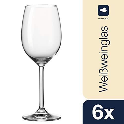 Leonardo Daily Weißwein-Gläser, Weißwein-Kelch mit Stiel, spülmaschinenfeste Wein-Gläser, 6er Set, 370 ml, 063315