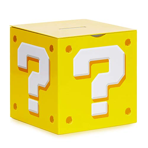 Question block Mario Brothers themed piggy bank gift idea