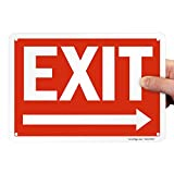 SmartSign - S-1253-PL-10 'Exit' Sign with Right Arrow | 7' x 10' Plastic White on Red