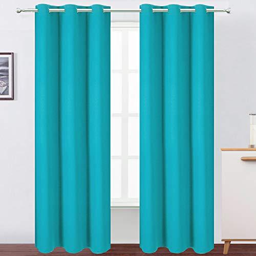 LEMOMO Teal/Turquoise Kids Bedroom Blackout Curtains/42 x 84 Inch/Set of 2 Panels Thermal Room Darkening Living Room Curtains