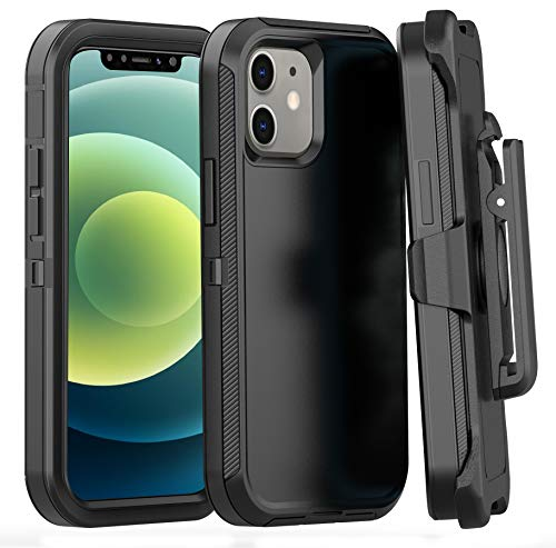 FOGEEK Case Compatible with iPhone 12/12 Pro, Heavy Duty Rugged Case, Belt Clip Holster Kickstand Protective Cover [Shockproof] Compatible with iPhone 12/12 Pro 2020 [6.1 inch] (Black)