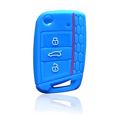 KUNYI Compatible con Skoda Octavia A7 Rapid Karoq Fabia Cubierta de Llave de Silicona Compatible con Seat Leon Ibiza Ateca Compatible con VW Golf 7 Polo Tiguan T-Roc Case Fob (Color : Light Blue)