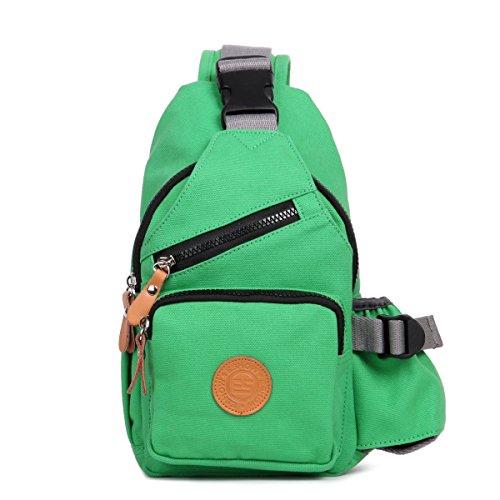 Eshow Damen Canvas Freizeit Täglich Umhängetasche Schultertasche Taschen (Grün)