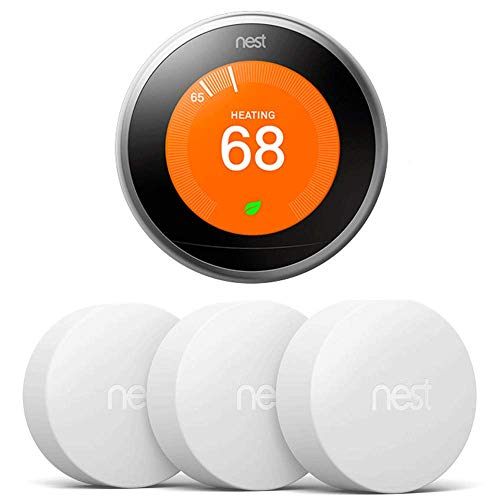 Nest T3007ES Learning Thermostat - 3rd Gen - (Stainless Steel) with 3 Pack Nest T5001SF Temperature Sensor