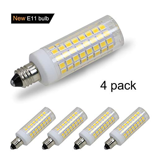 [4-Pack] E11 LED, All-New (102LEDs) E11 Led Bulbs, 8W 75W-100W Equivalent, 850 LM, Warm White 3000K, Dimmable,E11 Mini Candelabra Base, JD T3/T4 360 Degree Beam Angle for Indoor Decorative Lighting.