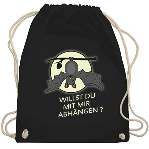 Sprüche - Fledermaus - willst du mit mir abhängen ? - Unisize - Schwarz - rucksack fledermaus - WM110 - Turnbeutel und Stoffbeutel aus Bio-Baumwolle