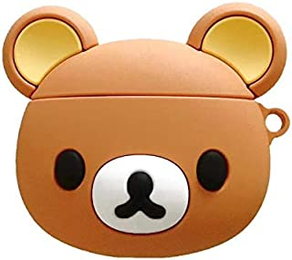 BlossomingLove Compatible with AirPods Case Keychain Full Protective Premium PVC Silicone Cover Fashion Dope Self-Design Rilakkuma Style Skin for AirPods Charging Case (Rilakkuma)