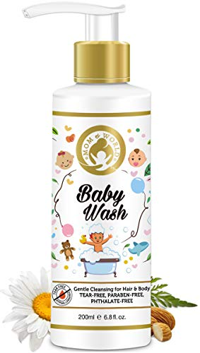 Mom & World Baby Wash - Tear Free Gentle Cleansing For Hair & Body, 200 ml