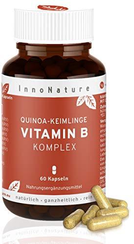 Vitamin B Komplex aus Quinoa-Keimling. Alle B-Vitamine (B1, B2, B3, B5, B6, B7, B9, B12) zu 120{63a1ae4b0c75c08b42d080b46767919b91c90e59b7826ad4120d949384c7342d} NRV, 60 Kapseln je 500mg, vegan, hergestellt in DE