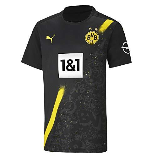 PUMA Jungen BVB Away Shirt Replica SS Jr w/Sponsor Logo w/Opel T Black, 140
