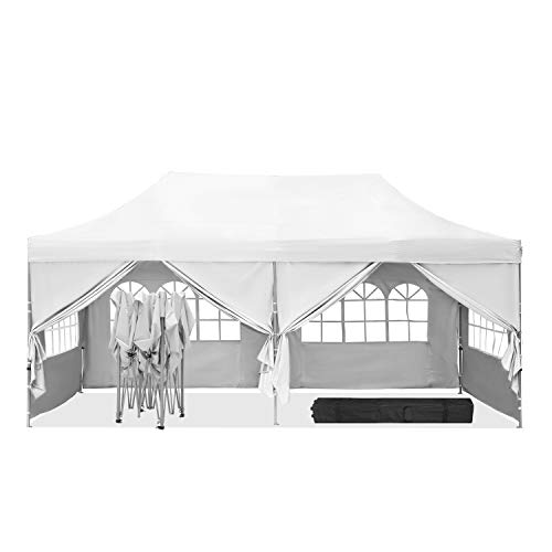 HYD-Parts Outdoor Patio 10x20 Ft Pop up Canopy Party Wedding Gazebo Tent (10x20 Ft Six sidewallsWhite)