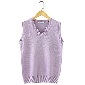 Men Women Knitted Cotton V-Neck Vest JK Uniform Pullover Sleeveless Sweater School Cardigan Light Purple