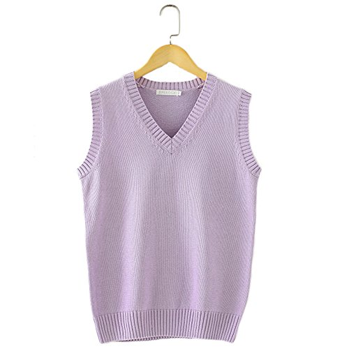 Men Women Knitted Cotton V-Neck Vest JK Uniform Pullover Sleeveless Sweater School Cardigan Light Purple