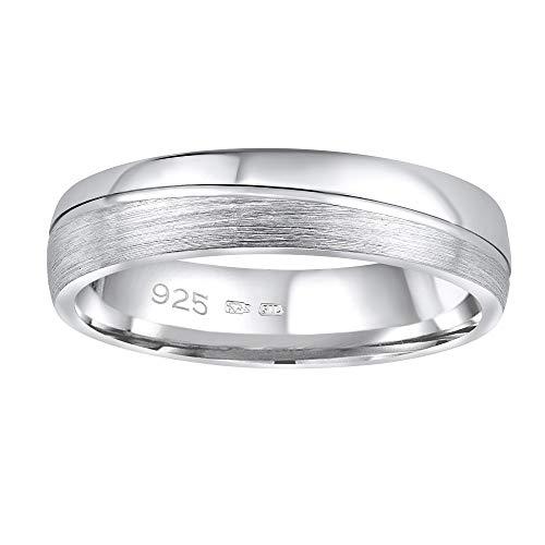 SILVEGO Damen und Herren Ehering aus 925 Sterling Silber GLAMIS