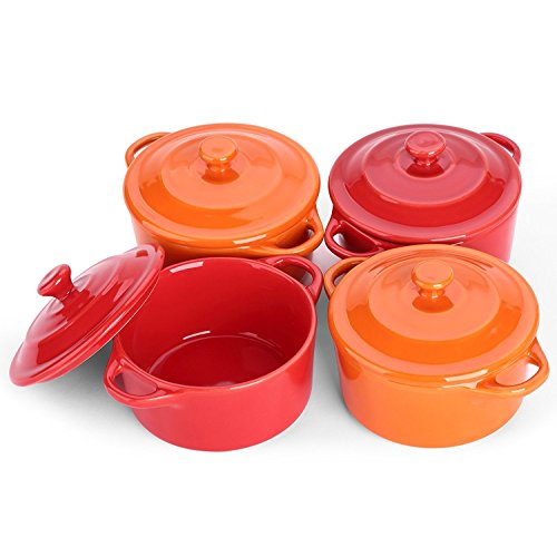 Lifver - Plato de soufflé de cerámica de 200 ml/Mini cazuela/Ramekins, Tazones de fuente de Dip-4, rojo cereza y naranja, redondos