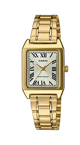 Casio LTP-V007G-9B Women's Rectangular Gold Tone Stainless Steel Roman Gold Dial Dress Watch