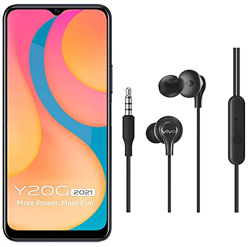 Vivo Y20G 2021 (Obsidiant Black, 4GB RAM, 64GB Storage) with No Cost EMI/Additional Exchange Offers + vivo Color Wired Earphones with Mic and 3.5mm Jack (Black)