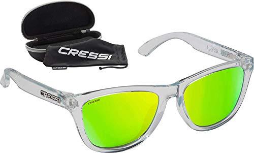 Cressi Leblon Sunglasses Gafas de Sol Deportivas con Estuche Rígido, Adultos Unisex, Hielo Crystal-Lentes Espejadas Lime, Un Tamaño