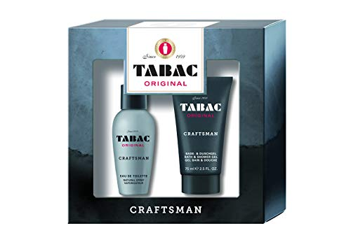 Tabac® Original Craftsman I Geschenkset - moderne Frische, facettenreich und lang anhaltend - für gepflegte Männlichkeit I Eau de Toilette 50ml Natural Spray und Duschgel 75ml
