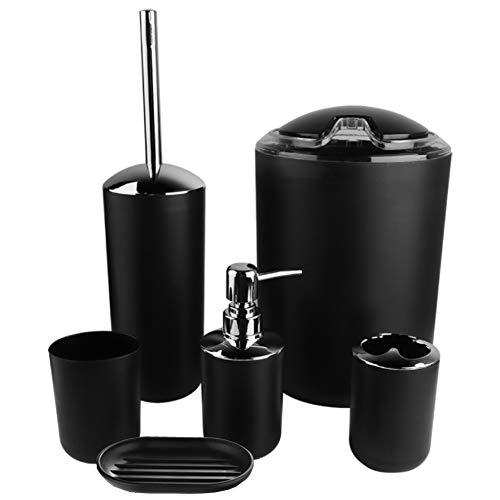 AYNEFY Bad Badezimmer Toiletten Accessoires Set 6-teiliges Badgarnitur mit Seifenspender Seifenschale Zahnbürstenhalter Zahnputzbecher Toilettenbürste Mülleimer(Schwarz)