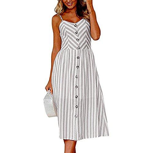 iLUGU Urbanization Midi Dress for Women Sleeveless Off Shoulder Backless Button Shoulder-Strap Stripe Gown Gray