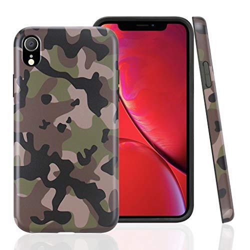 Cujas iPhone XR kompatible Hülle Weiche Camouflage TPU Silikon Schutzhülle Blickdicht mit IMD Technologie Camo Militär Muster Case Schutz Handyhülle (iPhone XR Grün)