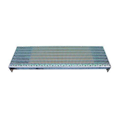 Einpress Treppenstufen Maschenweite 30x10 MW30/10 verschiedene Maße feuerverzinkt mit Antrittskante (800 x 270 mm)