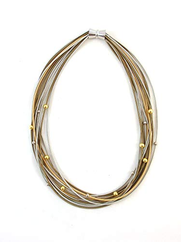 The Island Pearl Piano Wire Necklace Silver, Gold and Bronze