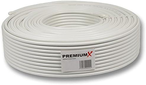 50m PremiumX Basic Pro Cable coaxial Sat Cable de Antena de 135dB Cable coaxial blindado de 5 vías Cable de Antena para 4K Ultra HD | DVB-S / S2 | ...