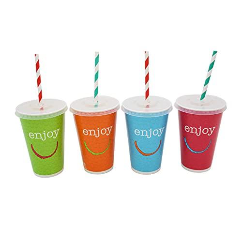 8around-50 Vasos de cartón con 50 tapas y 50 pajita biodegradables de papel,vasos de papel desechables 350ml,take away,cumpleaños,barbacoas,fiesta,para cualquier bebida fria,zumos,granizados,b