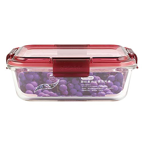 Glass Meal Prep Containers, Reusable Clear Food Storage Container with Lids, Microwave Bento Box Leakproof Lunch Container Set, for Cereal, Snacks and Sugar (B)