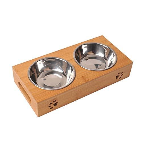 XUAILI hondenmand huisdierkat dubbele bowl massief hout afdruiprek kat voederbak bamboeplaat eettafel Cat roestvrij stalen waterkom, maat: L